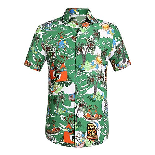 - OrchidAmor Men Casual Comfy Printed Button Down Short Sleeve Shirt Hawaiian Top Blouse 2019 Summer Green