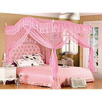 Amazon Com Pink Arched Four Corner Square Princess Bed
