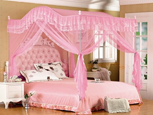 Pink Arched Four Corner Square Princess Bed Canopy Mosquito Netting (Full/Queen)