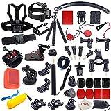 Action Camera Accessory Kit for Go Pro Hero 7 6 5 4 3+ 3 2 1 Hero Session 5 Black AKASO EK7000 Apeman SJ4000 5000 6000 DBPOWER AKASO Campark with Selfie Stick Tripod Straps Car Suction Accessories
