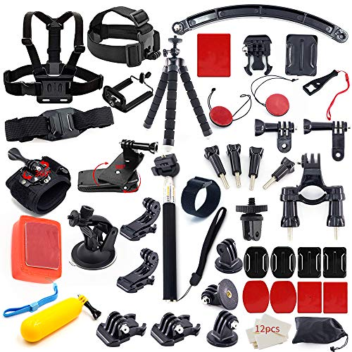 (MOUNTDOG Action Camera Accessory Kit for Go Pro Hero 7 6 5 4 3+ 3 2 1 Hero Session 5 Black AKASO EK7000 Apeman SJ4000 DBPOWER Campark with Selfie Stick Tripod Straps Car Suction Accessories)