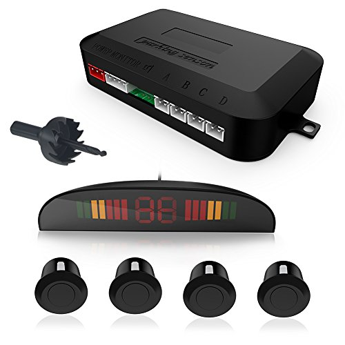 GOGO ROADLESS LED Display Car Vehicle Reverse Backup Radar System with 4 Parking Sensors