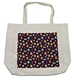 Lunarable Lantern Shopping Bag, Abstract Arabian Moroccan Icons in Vibrant Colors Oriental Eastern Motifs and Dots, Eco-Friendly Reusable Bag for Groceries Beach Travel School & More, Cream