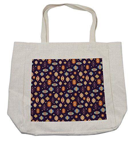 Lunarable Lantern Shopping Bag, Abstract Arabian Moroccan Icons in Vibrant Colors Oriental Eastern Motifs and Dots, Eco-Friendly Reusable Bag for Groceries Beach Travel School & More, Cream by Lunarable