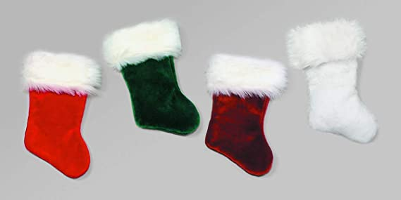 Customized Christmas Stocking Chevron Quilted Dark Green Slim Christmas Stocking with White Cuff Embroidered