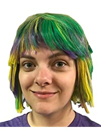 Mardi Gras Choppy Yellow Green Purple Layered Fat Tuesday Party Wig