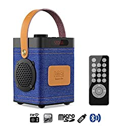 InstaBox P70 Denim Portable Outdoor Bluetooth FM Radio USB TF Super Bass Stereo Speakers, MP3 with Remote Control