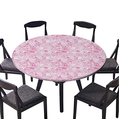SATVSHOP Kitchen Dining Room Tabletop Decoration-50 Round-for Indoor Outdoor Camping,Paisley Asian Models Inspired Dign with Flowers and Leaf Circled Shap Image Pink and White.(Elastic Edge)