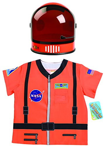 Aeromax My 1st Career Gear Astronaut NASA Shirt & Youth Astronaut Helmet 2 Piece Bundle, Orange. -