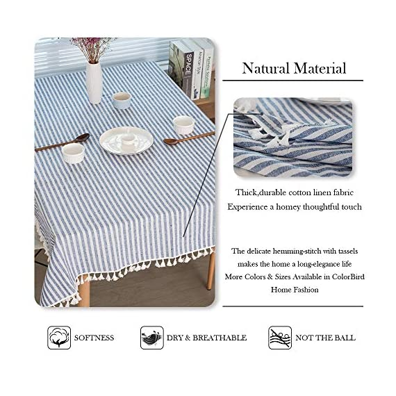 """ColorBird Stripe Tassel Tablecloth Cotton Linen Dust-Proof Table Cover for Kitchen Dinning Tabletop Decoration (Rectangle/Oblong, 55 x 86Inch, Blue) - DELICATE PRINTING - Featuring elegance stripe pattern on cotton linen fabric with beautiful tassel edge, adorn a dining table with this ColorBird modern tablecloth to start off a traditional tablescape, then dole out shimmery flatware and simplistic porcelain plates to make your meal time more luxurious DURABLE CONSTRUCTION - Manufactured from super, hard wearing 100% cotton linen fabric, with a seamless construction that won't easily fray after long term use; Tablecloth measures 55"""" Width x 86"""" Length (140 x 220 cm), includes tassel length, size deviation is between 1 to 2 inch. Fits tables that seat 6-8 people EASY TO CARE - Machine washable in low temperature or cold water, gentle cycle; Hand wash best; No bleaching; Tumble dry on low heat or lay flat to dry. Please avoid being outdoors in direct sunlight too long - tablecloths, kitchen-dining-room-table-linens, kitchen-dining-room - 517NmPO6bfL. SS570  -"""