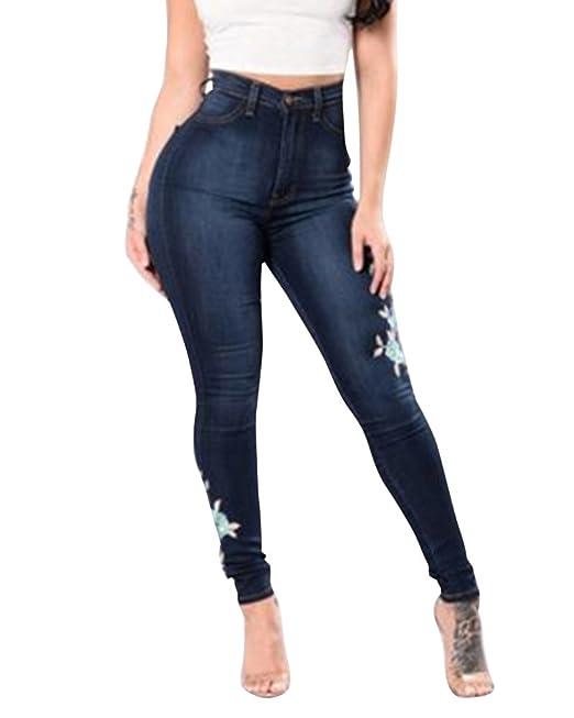 MISSMAO Mujer Vaqueros Skinny con Flores Pantalones Denim ...