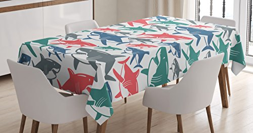 Ambesonne Shark Tablecloth, Mix of Colorful Bull