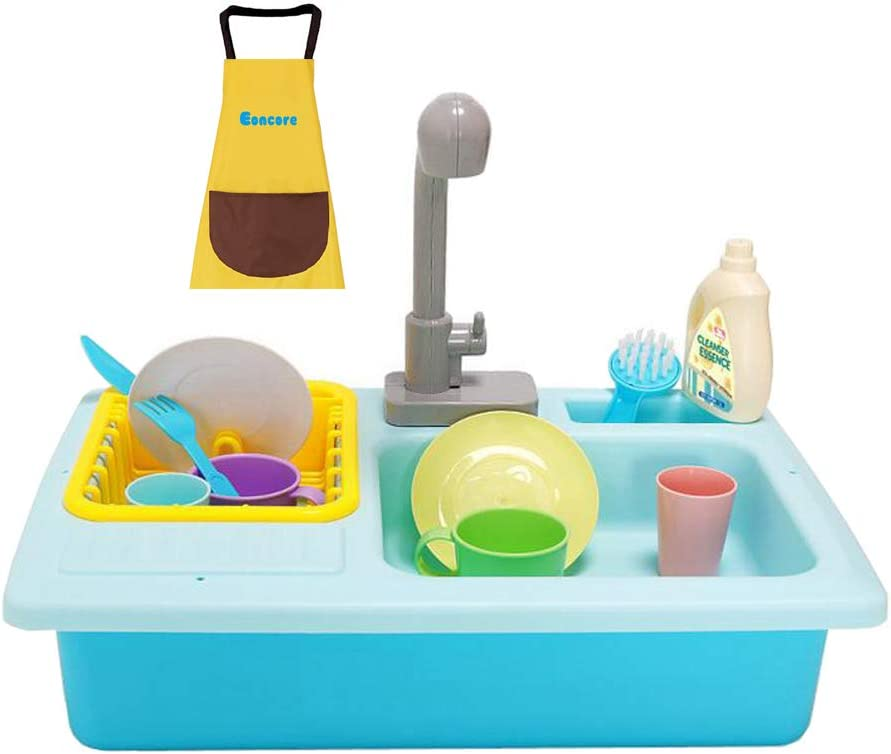 Eoncore Wash-up Kitchen Sink Toy with Running Water Electric Dishwasher Pretend Role Play Kitchen Set for Kids Girls Boys Including Waterproof Apron (Blue)