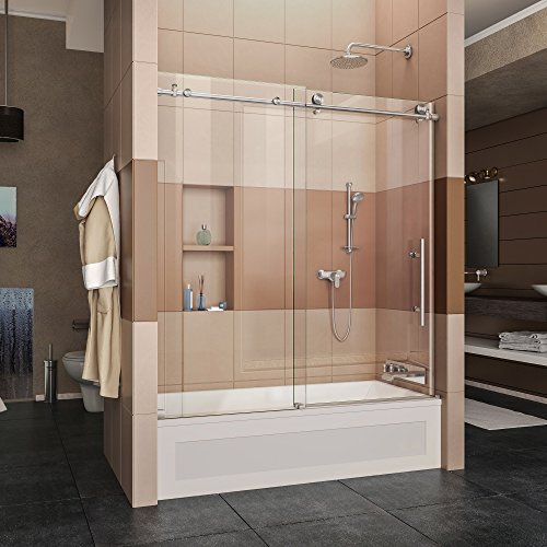 DreamLine Enigma-X 55-59 in. W x 62 in. H Fully Frameless Sliding Tub Door in Brushed Stainless Steel, SHDR-61606210-07 ()