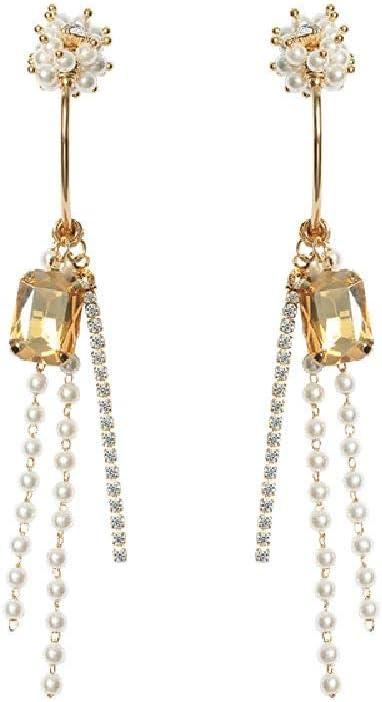 ZJMKFJL S925 Pendientes de Agujas de Plata, Largos Pendientes de Perlas de Piedras Preciosas, 9,5 * 3 cm.