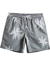 MaaMgic Mens Quick Dry Palm Tree Swim Trunks With Mesh Lining Swimwear Bathing Suits, Grey, XX-Large(Waist-34