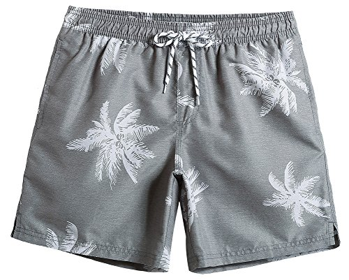 MaaMgic Mens Quick Dry Palm Tree Swim Trunks With Mesh Lining Swimwear Bathing Suits, Grey, Large(Waist-31