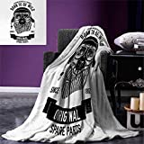 Anniutwo Modern Digital Printing Blanket Born to be Wild Quote A Cool Dog Motorcycle Rider Puppy Animal Graphic Design Custom Design Cozy Flannel Blanket 80''x60'' Black White
