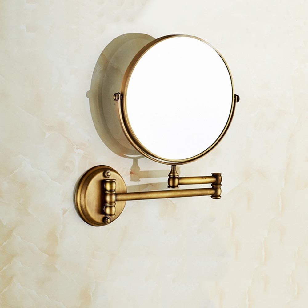 B07SBF6JK4 JPROCE Bathroom Makeup Mirror Wall Mounted, Make-Up Mirror with 1X/3X Magnification Two-Sided [360°Swivel Design] Extendable Bathroom Mirror, Chrome Gold 51kJviqCiNL.SL1001_