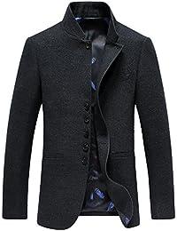 Mandarin Collar Blazer Jacket For Men Smart Casual Wool Tweed Sports Jackets Bottons