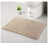 JINGXIN Luxury Non-Slip Area Rugs Chenille Fabric Bathroom Bedroom Soft Absorbent Microfiber Floor Mats,15.75''(W) x 23.62''(L),Khaki