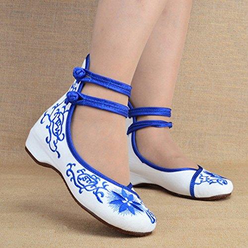 Chinese Cheongsam Matched Schoenen Casual Dansschoenen Blauw