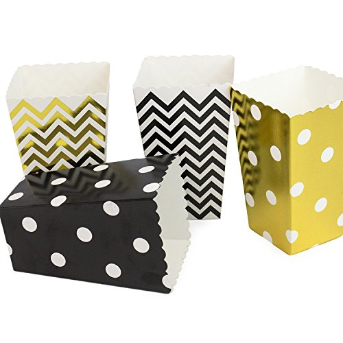 Chevron/Polka Dot Popcorn Candy Boxes, Black Gold Party Favors for Bridal/Baby Shower 48PCS -