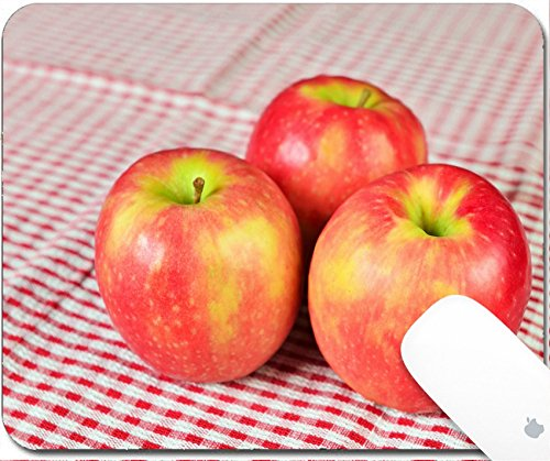 Luxlady Gaming Mousepad 9.25in X 7.25in IMAGE: 34557830 Shallow DOF image of red apples on red kitchen towel closeup