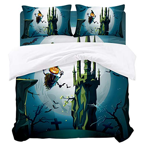 Duvet Cover Sets - Happy Halloween Horro Castle 4 Piece Queen Bedding Sets Soft Microfiber Bedspread Comforter Cover and Pillow Shams for Adult/Children/Teens -