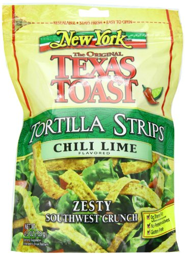New York, The Original Texas Toast, Tortilla Strips, Chili Lime, 4.5oz Bag (Pack of 3)