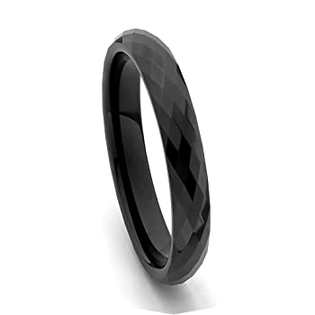 4mm Faceted Tungsten Wedding Band