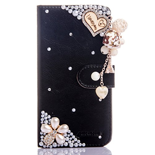 ZTE N9136 Avid Trio Prestige Case, Everun Luxury PU Leather Case Bling Glitter Magnet Closure Flip Wallet Stand Case with Card Slots for ZTE Prestige 2 N9136 (Trio Phone)