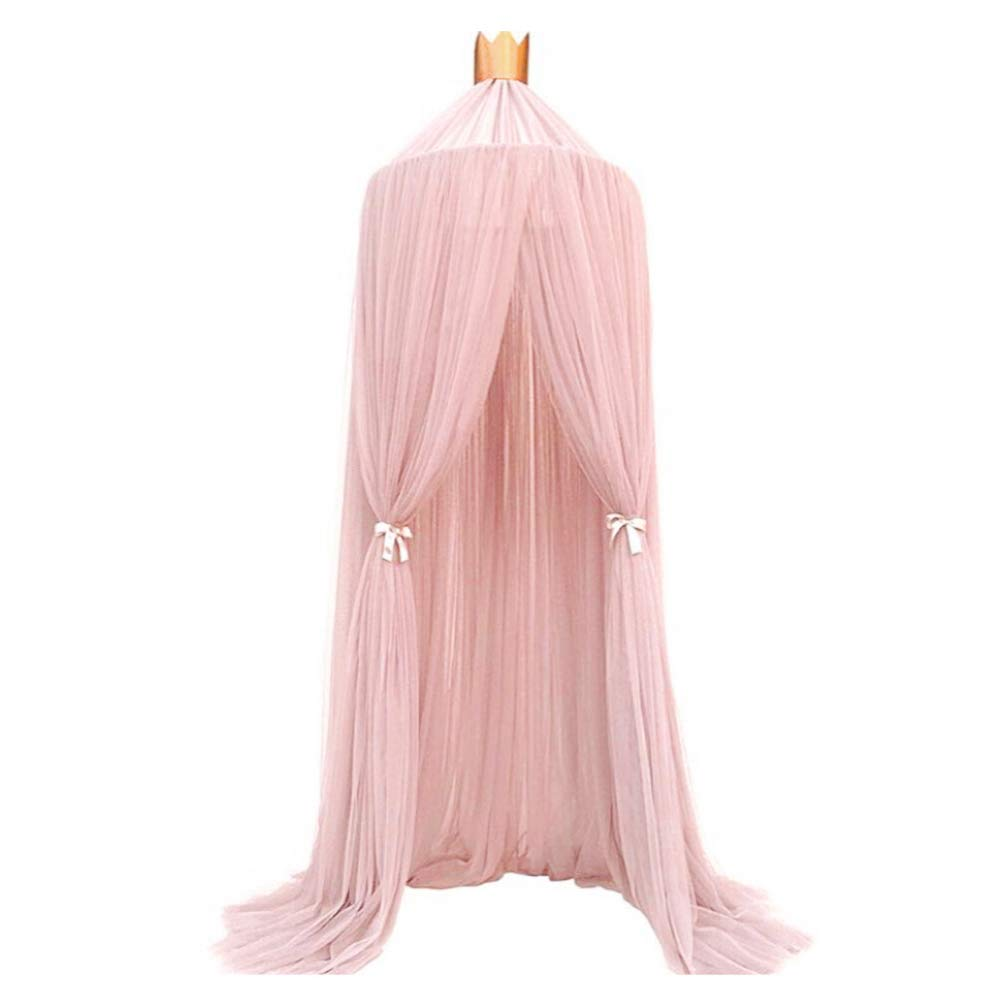 Luerme Dome Fantasy Champion Netting Curtains Play Tent Bed Canopy Mosquito Net Bedding with Round Lace Baby Boys Girls Games House for Kids' Playing Reading (Pink) by Luerme (Image #1)
