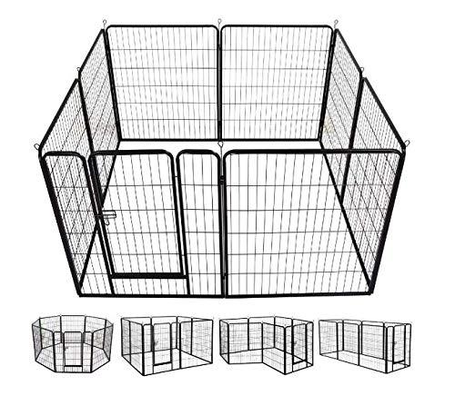 Merax Heavy Duty Metal Pet Dog Puppy Cat Exercise Fence Barrier Playpen Kennel, Outdoor & Indoor,16 Panels/8 Panels (8 Panel 40'')
