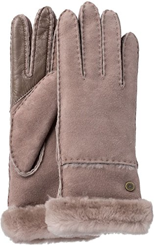 UGG Women's Exposed Waterproof Sheepskin Tech Gloves with Slim Pile Stormy Grey MD by UGG