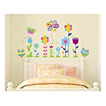 Adorable High Quality Adhesive Rooms Walls Vinyl Stickers / Murals / Decals / Tattoos / Transfers For Kids Playrooms / Nurseries With 2pcs Butterflies, 2pcs Owls And 8pcs Flowers In Many Different Colours Designs By VAGA