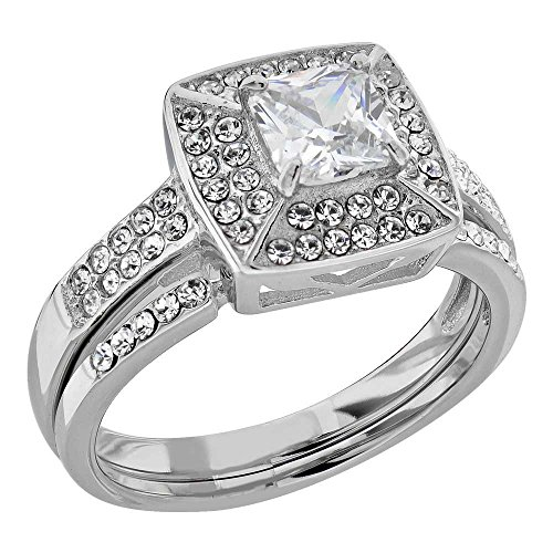 Stainless Steel Princess Shape Cubic Zirconia Halo Women Wedding Ring Sets SPJ