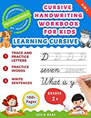 Cursive Handwriting Workbook for Kids: Learning Cursive for 2nd 3rd 4th and 5th Graders, 3 in 1 Cursive Tracing Book Includi