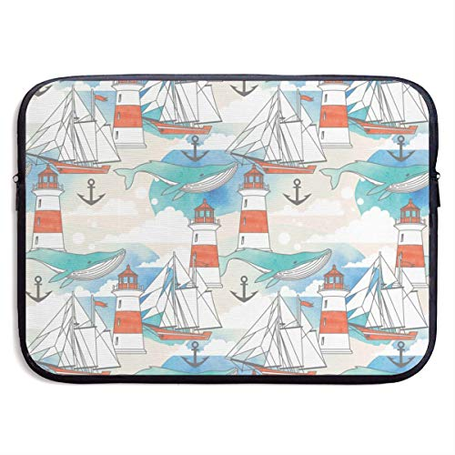 Dianbaowo Abstract Whale Anchor and Boats 13/15 Inch Laptop Sleeve Bag for MacBook Air 11 13 15 Pro 13.3 15.4 Portable Zipper Laptop Bag Tablet Bag, Water Resistant, Black