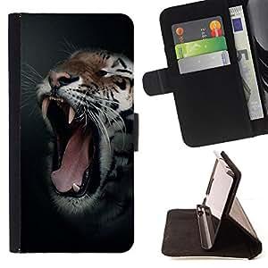 - BLACK NIGHT ROAR ANIMAL FANGS TIGER YAWN - - Prima caja de la PU billetera de cuero con ranuras para tarjetas, efectivo desmontable correa para l Funny HouseFOR Samsung Galaxy S5 V SM-G900