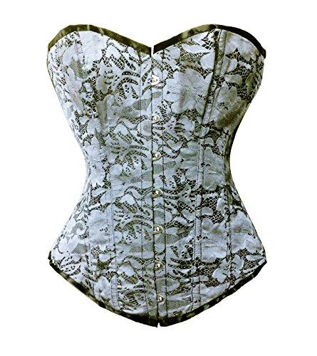 Bslingerie® Corsé para mujer, para reducir la cintura, brocado negro, gris