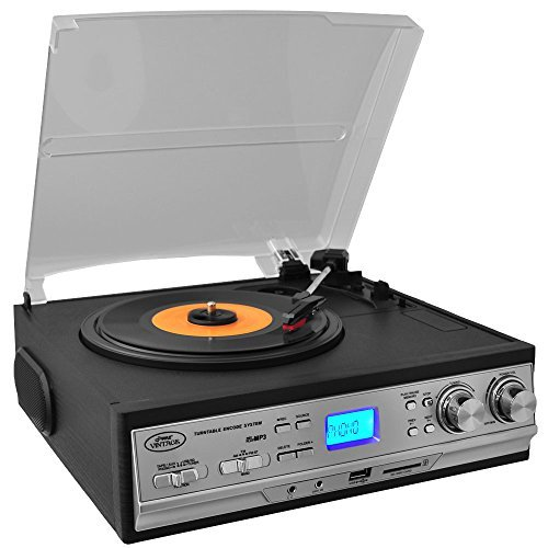 Updated Version Pyle Retro Turntable with Speakers, Wireless Record Player, Record Player Convert Vinyl to Mp3, Cassette Player Aux w/ FM/AM Radio, USB/SD, 45 RPM Adaptor, 3 Speed 33, 45, 78 RPM