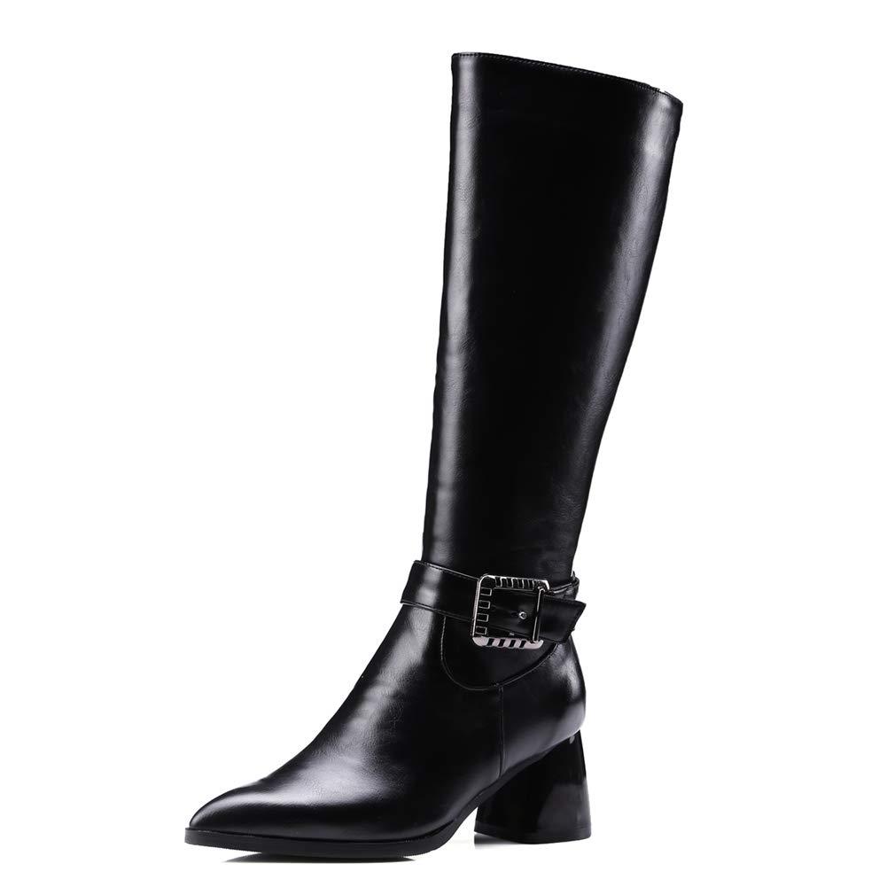 HOESCZS Marke Design Große Größe 32-43 Frauen Schuhe Frau Reitstiefel Reitstiefel Reitstiefel Mode Schnallen Winter Kniehohe Stiefel Frau Schuhe, 7ca2c2