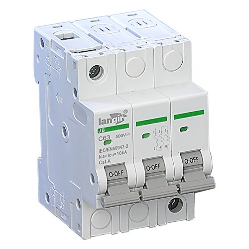 LANGIR 3 Pole Din Rail Non Polarized Mini Circuit Breaker Switch For DC And Solar Generation C Curve With TUV Certificates (10A)