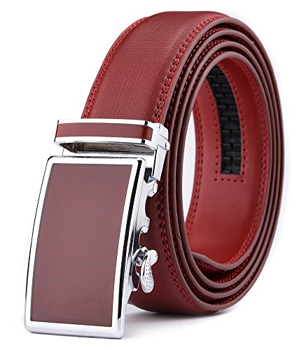 Red Genuine Belt (Xhtang Men's Ratchet Belt Automatic Buckle Genuine Red Leather belt 35mm)