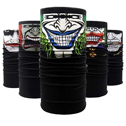 Tvoip 5Pcs Cycling Motorcycle Head Scarf Neck Warmer Skull Face Mask Ski Balaclava Headband Mask Scary Halloween Face Shield Outdoor ()
