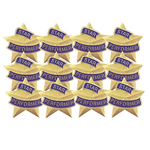 7/8 Inch Star Performer Lapel Pin - Package of 12, Poly ()