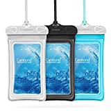 Cambond Floating Waterproof Phone Pouch, 3 Pack Waterproof Phone Case, Transparent PVC Water Proof Cell Phone Pouch Dry Bag with Lanyard for iPhone Xs Max XR X 8 7 6 Plus (White+Black+Blue)