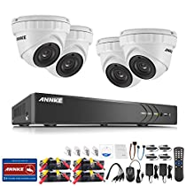 ANNKE HD 3MP outdoor security camera System with 4-Channel 5-in-1 HD-TVI/CVI/AHD/IP/CVBS DVR Recorder and (4) IP66 weatherproof Indoor&Outdoor Metal Dome Cameras, Super Night Vision, NO HDD