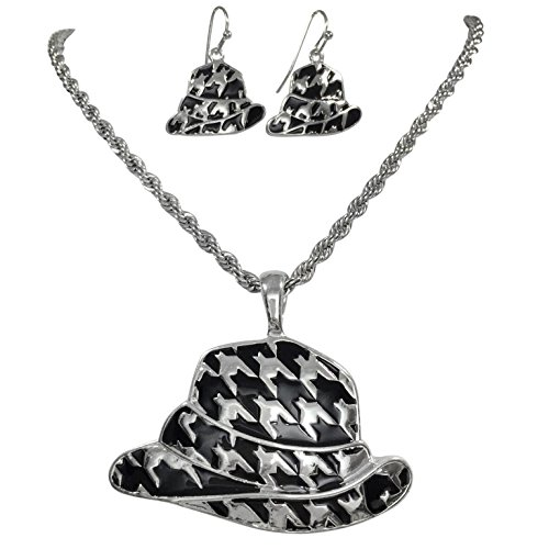 Houndstooth Fedora Hat Silver Tone Necklace & Dangle Earrings Set Alabama Crimson Tide